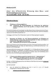 Niederschrift über die öffentliche Sitzung des Bau- und ... - Monschau