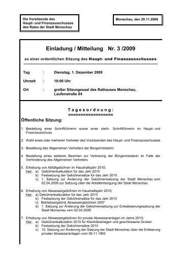 Einladung / Mitteilung Nr. 3 /2009 - Monschau
