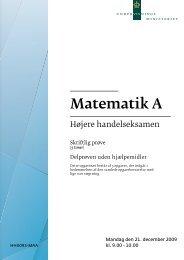 Matematik A, hhx, den 21. december 2009 (pdf)