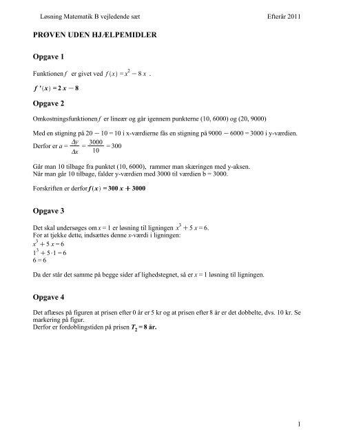 Løsning matematik B - vejledende sæt - Emu
