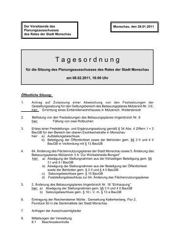 Tagesordnung - Monschau