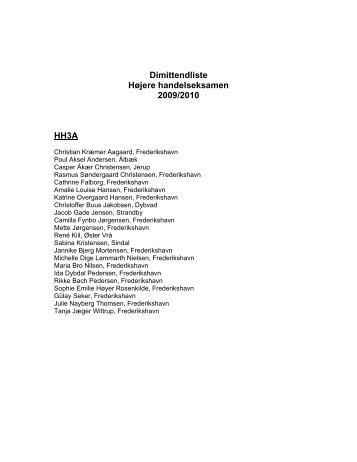 Dimittendliste Højere handelseksamen 2009/2010 HH3A
