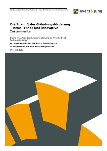 Die Zukunft der Gründungsförderung – neue Trends und innovative Instrumente