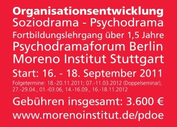Psychodramaforum Berlin Moreno Institut Stuttgart