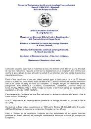 Discours d'Anniversaire des 40 ans du jumelage Franco-allemand ...