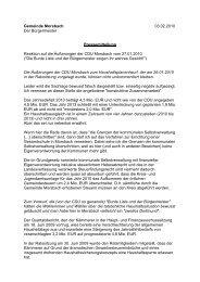 CDU-Reaktion zum HH 2010 - Gemeinde Morsbach