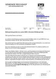 Schreiben der Gemeinde Reichshof an alle Haushalte im Raum ...
