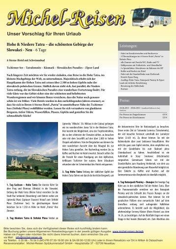 Hohe & Niedere Tatra – die schönsten Gebirge der ... - Michel-Reisen