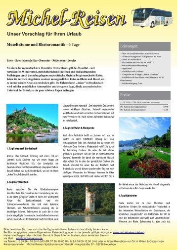 Moselträume und Rheinromantik - Michel-Reisen