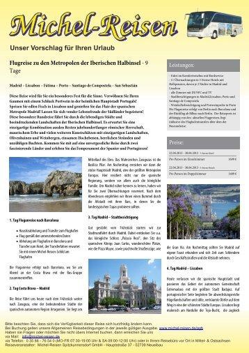 Flugreise zu den Metropolen der Iberischen Halbinsel - Michel-Reisen