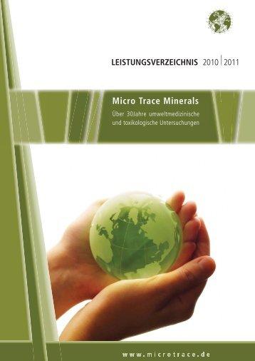 Micro Trace Minerals LEISTUNGSVERZEICHNIS