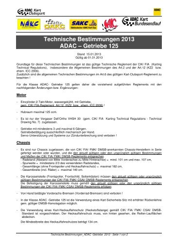Techn. Bestimmungen WAKC-/ ADAC – Getriebe 2013