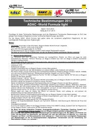 Techn. Bestimmungen WAKC-/ ADAC -World Formula light 2013