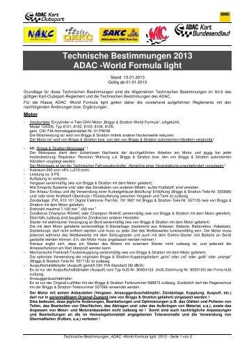 Techn. Bestimmungen WAKC-/ ADAC -World Formula light 2013