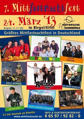 Mittfastnachtfest 2013 als PDF - Historische Wassermühle Birgel