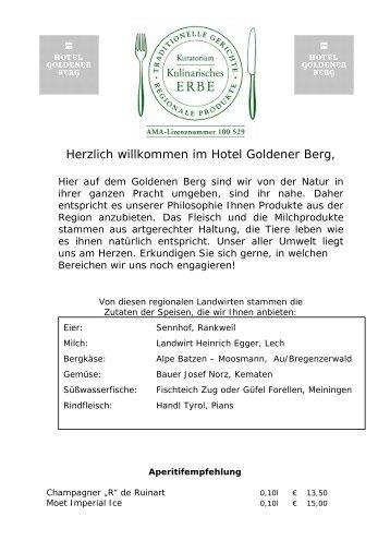 Herzlich willkommen im Hotel Goldener Berg,