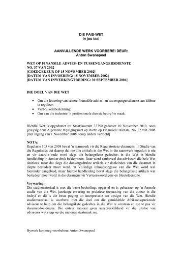 Die FAIS Wet in Afrikaans