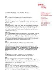 Joseph Beuys – Life and work - Museum Schloss Moyland