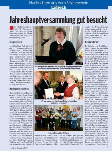 Jahreshauptversammlung gut besucht - Mieterverein Luebeck
