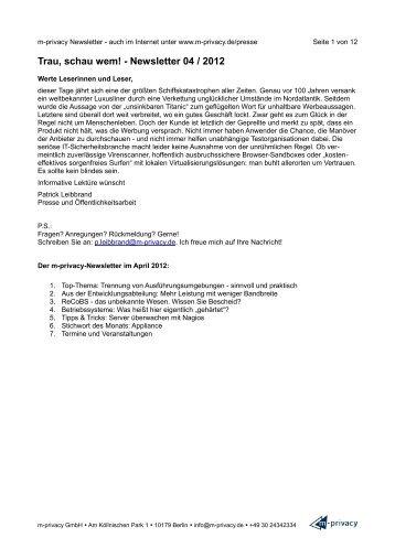 Trau, schau wem! - Newsletter 04 / 2012 - m-privacy GmbH