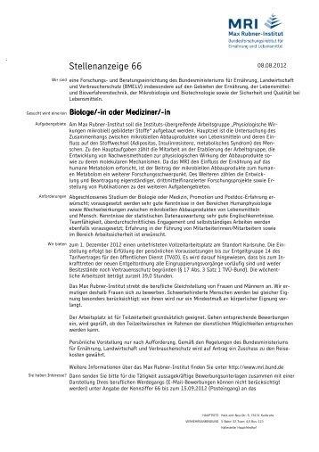 Stellenanzeige 66 PBE KA - Max Rubner-Institut - Bund.de