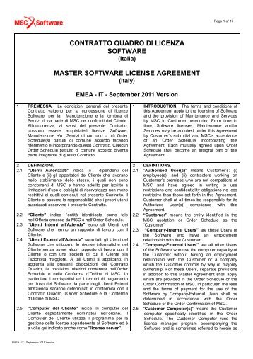 CONTRATTO QUADRO DI LICENZA SOFTWARE ... - MSC Software