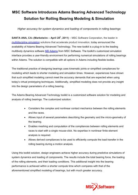 MSC Software Introduces Adams Bearing Advanced Technology