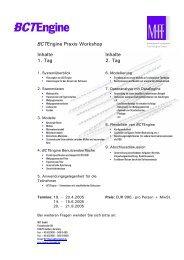BCTEngine Praxis Workshop Inhalte 1. Tag Inhalte 2. Tag - MIT ...