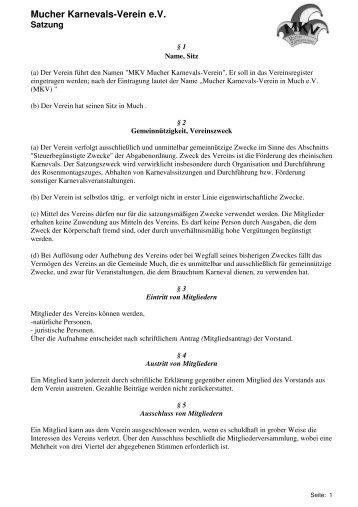Hier klicken für die MKV Satzung - Mucher Karnevals Verein eV