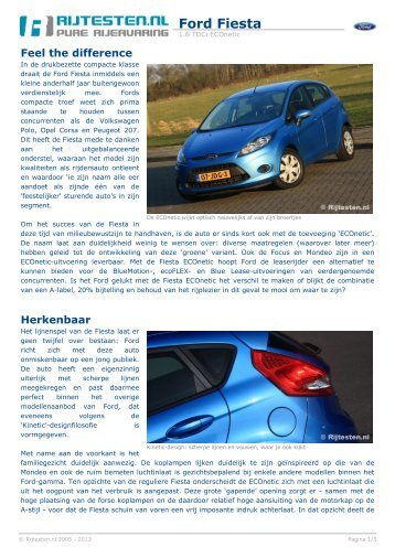 Rijtesten.nl: test Ford Fiesta