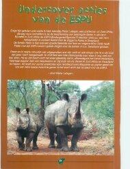 egan' een poiitieman uit Zuid Afrika, ng van bedreigde dieren in zijn ...