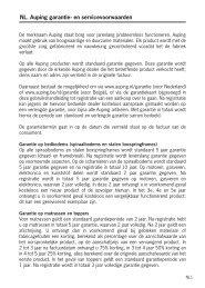 NL. Auping garantie- en servicevoorwaarden - Auping Service Manual