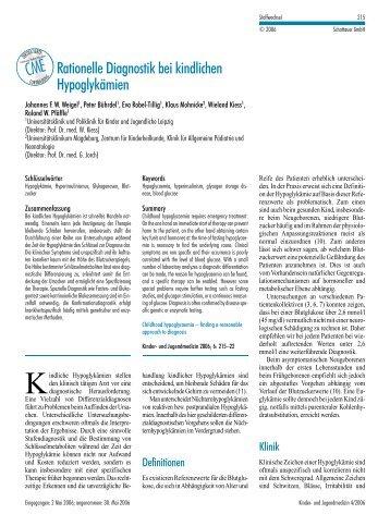 Rationelle Diagnostik bei kindlichen Hypoglykämien (CME ...