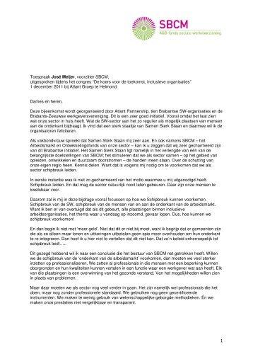 Lees de toespraak van José Meijer - SBCM