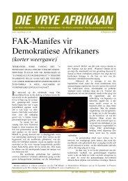FAK-Manifes vir Demokratiese Afrikaners - Welkom by die FAK