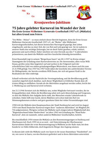 75 Jahre MüKaGe 2012 - Erste Grosse Mülheimer Karnevals ...