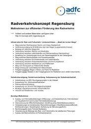 Maßnahmen zur effizienten Förderung des ... - ADFC Regensburg
