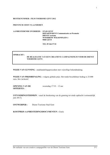 WIJZE VAN GUNNING : ondehandelingsprocedure met ... - Visit Gent