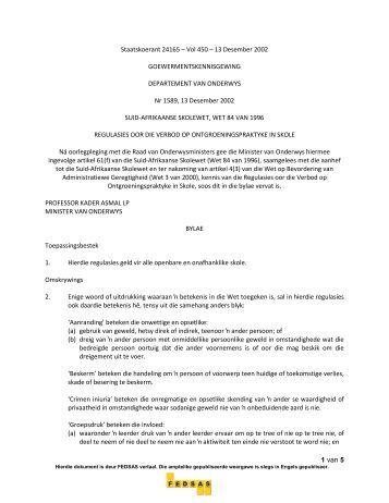 Die Taak van die Beheerliggaam - Federasie van Beheerliggame ...