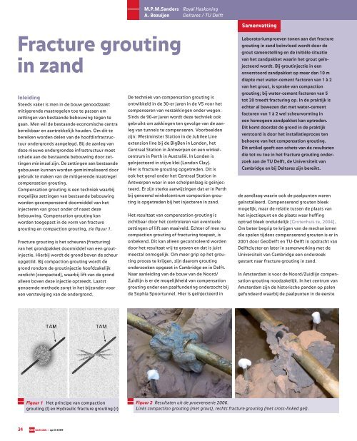 Geotechniek Fracture grouting in zand