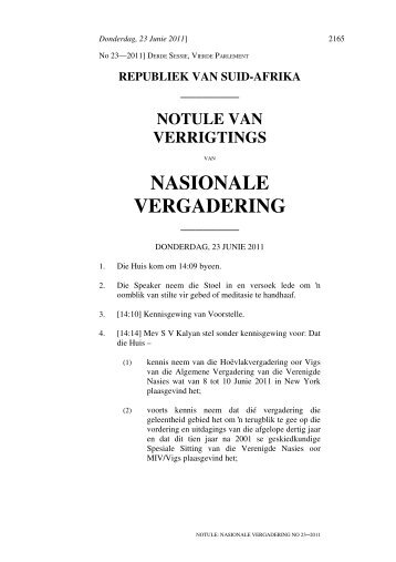 NASIONALE VERGADERING - Parliament of South Africa