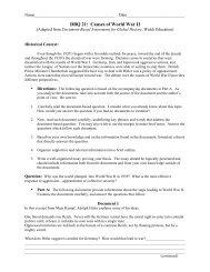 DBQ 21: Causes of World War II