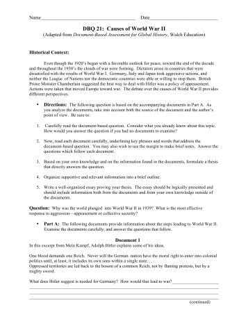 who and or what caused world war 1 dbq essay Causes of world war one dbq essay, voicethread universal lets you browse causes of world war one dbq essay threads and hear comments in pages specially designed for screen formal five.