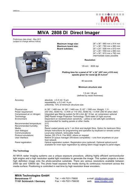 Minimum Gmbh miva 2808 di direct imager - mivatec gmbh