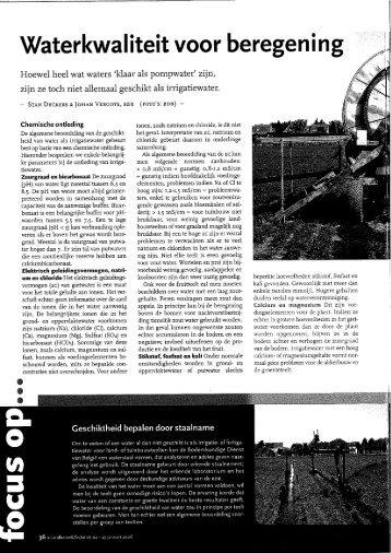 Waterkwaliteit voor beregening. - Bodemkundige Dienst van België ...