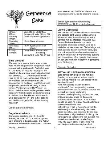 Gemeente Sake - Gereformeerde Kerk Rietvallei