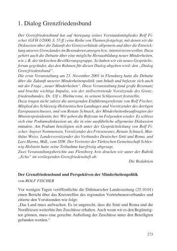1. Dialog - ADS-Grenzfriedensbund eV, Arbeitsgemeinschaft ...