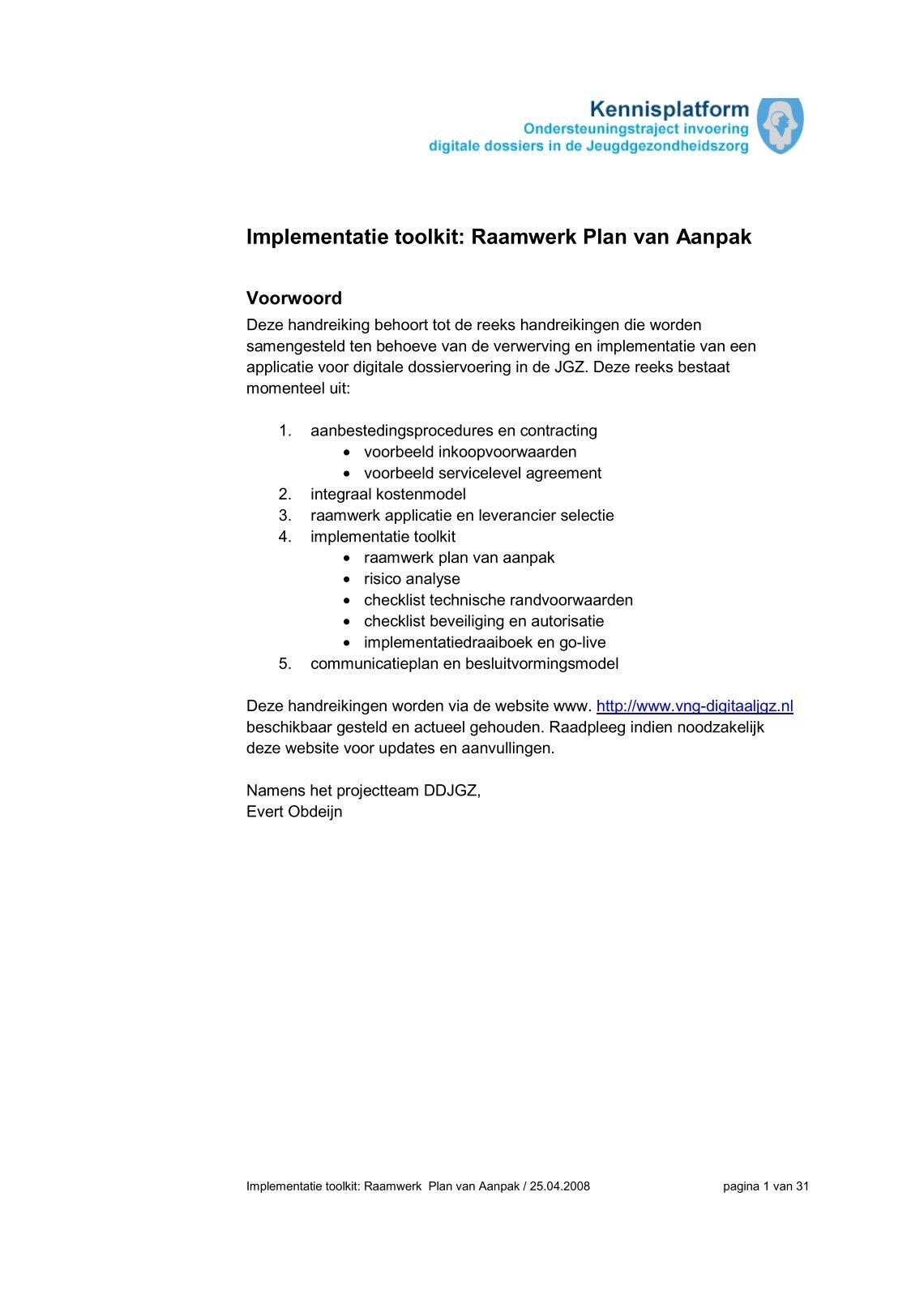 voorwoord plan van aanpak 1 free Magazines from VNG.KENNISPLEIN.INFO voorwoord plan van aanpak