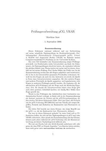 Prüfungsvorbereitung pCG, VRAR - Inforakel