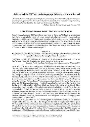 Jahresbericht 2007 der Arbeitsgruppe Schweiz – Kolumbien ask